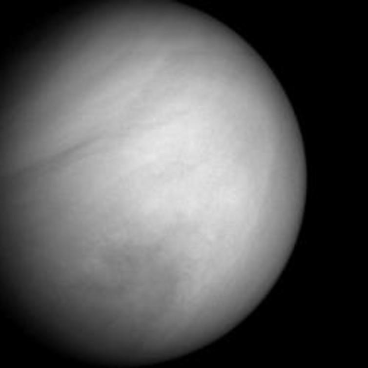The cloud tops of Venus in natural colour,