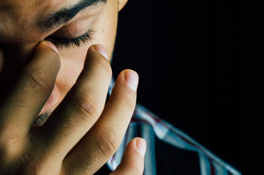 Man stressed, sad, anxious