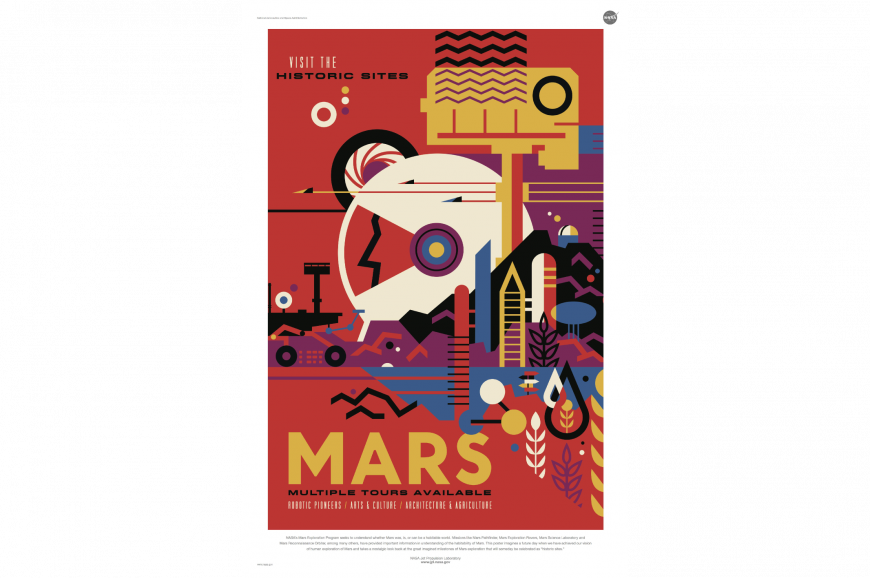 Multiple Sizes Explore Mars Vintage Space Travel Poster
