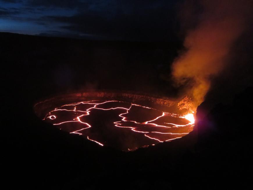The lake in Halemaʻumaʻu Crater.