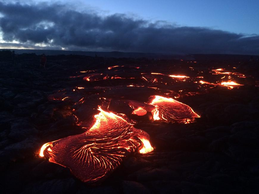 Lava from Hawaii's Kilauea volcano reaches the ocean at night
