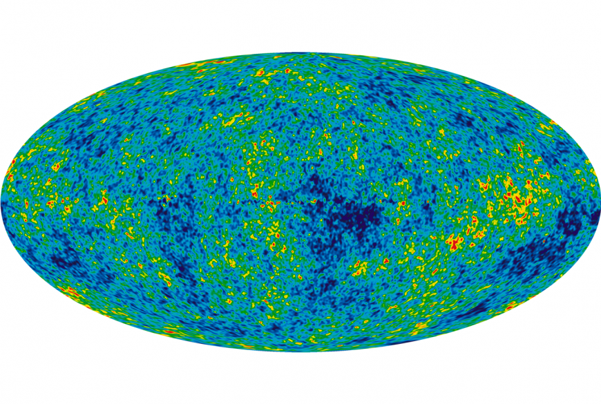 Cosmic background radiation leftover from the birth of the universe.