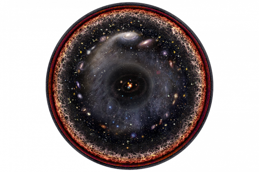 Circular image of stars and galaxies, ringed by what looks like orange flames