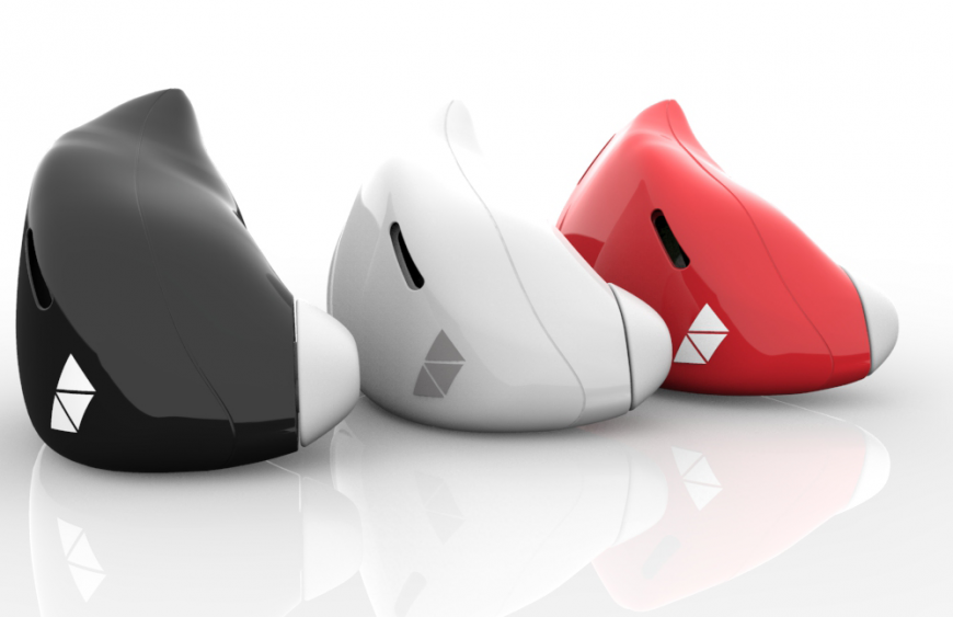 Earbuds in black, white, and red