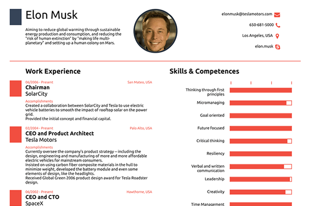 This Resume for Elon Musk Shows Why You Need Only One Page ...