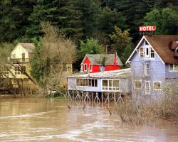 Flooding in the Russian River, California after El Niño storms
