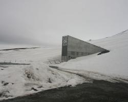 "Entrance to the Global Seed Vault (""Doomsday"" Vault) in Norway"