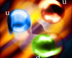 Artist's realisation of three quarks