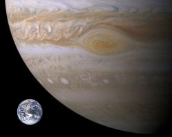 Size comparison of Earth and Jupiter showing the Great Red Spot