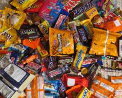 Halloween candies and chocolate bars