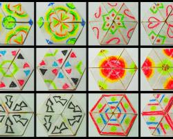 6 different faces of a hexaflexagon in 12 different orientations