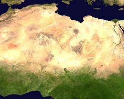 Satellite imagery of the Saharan desert