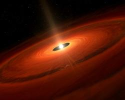Artist's impression of the dust disk and a forming planet around TW Hydrae.