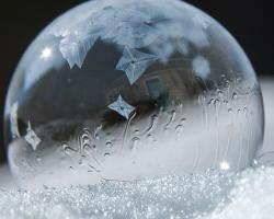 close up photograph of a soap bubble freezing