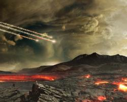 an artist's concept of the young Earth being bombarded by asteroids