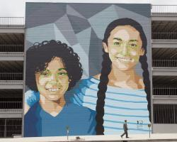 Mural in Hollywood California depicting facial recognition