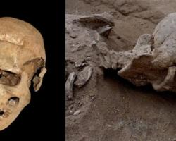 Photos of ancient skulls that had been bashed in violently.