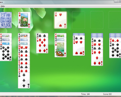 Screenshot of solitaire game on Windows Vista