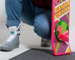 Marty McFly and a hoverboard in Back to the Future II