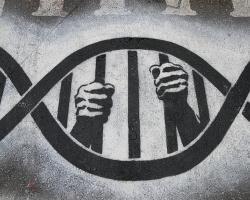 Graffiti design of DNA symbolizing prison bars