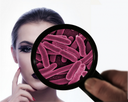 Woman, magnifying glass, microbes, microbiome