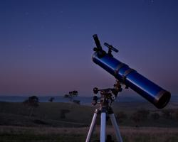 Simple amateur telescope in an empty field