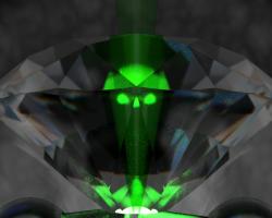 Artistic representation of a diamond crushing a glowing green hydrogen molecule