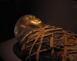 An egyptian sarcophagus in the Memorial Art Gallery, Rochester NY