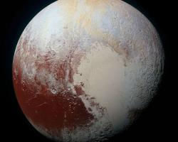 High-resolution MVIC image of Pluto in enhanced colour to bring out differences in surface composition.
