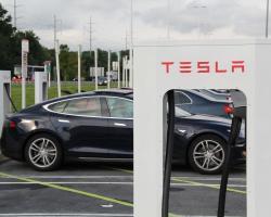 Parking lot at Tesla headquarters