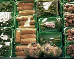 Cling wrapped vegetables