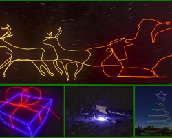 Colorful glowing outlines of Santa's sleigh, a gift-wrapped present, and a tree in the night sky