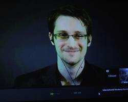 Edward Snowden speaking via webcam at the 2015 International Students for Liberty Conference