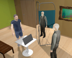 A virtual reality where study participants embody an avatar of Sigmund Freud (right).
