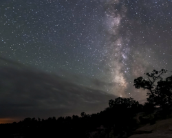 The summer Milky Way sets over Grand Canyon National Park