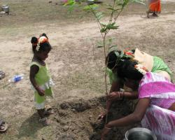 As part of a ceremony, women plant new saplings, their young daughter eager to help.