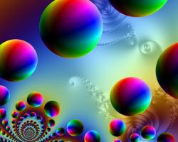 Fractal artwork of rainbow colored spheres