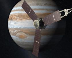 Artist's concept of Juno spacecraft orbiting Jupiter
