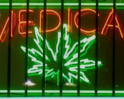 Neon sign advertizing medical marijuana