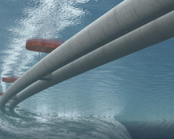 Concept art for Norway's underwater floating bridge