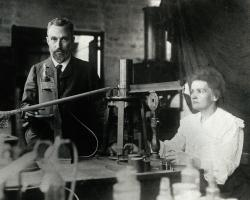 Marie and Pierre Curie in the laboratory