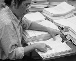 Researcher reviews grant proposals at the NIH