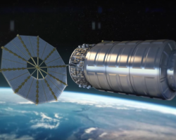 Artist's impression of the Cygnus spacecraft orbiting Earth