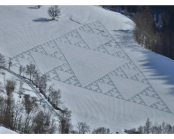 Sierpinski Triangle in the snow on a mountain side