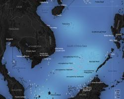 Map of the South China Sea and occupation of its central islands