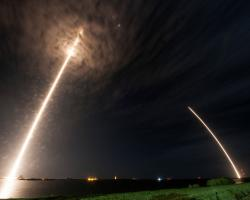 Falcon 9 launching the SpaceX Dragon capsule into orbit