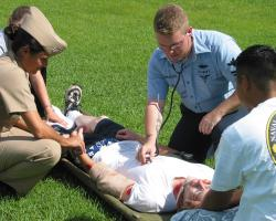 US Navy and paramedics take part in a Mass Casualty Drill