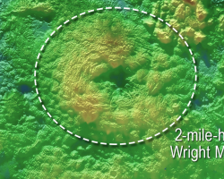 3D diagram of Wright Mons, a cryovolcano on Pluto's surface.