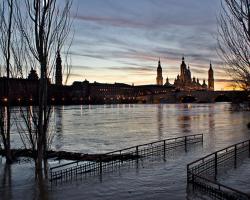 Flooding in the Spanish city of Zaragoza.