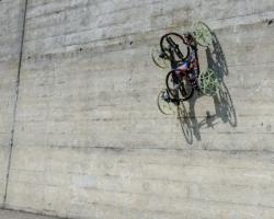 Four wheeled robot climbing a wall
